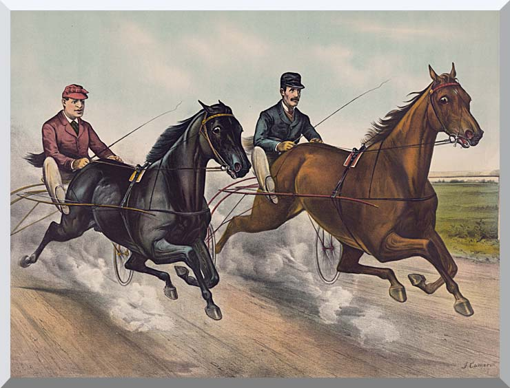 Currier and Ives A Champion Race stretched canvas art print