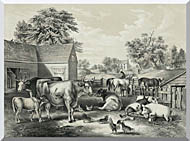 Currier And Ives American Farm Yard   Evening stretched canvas art