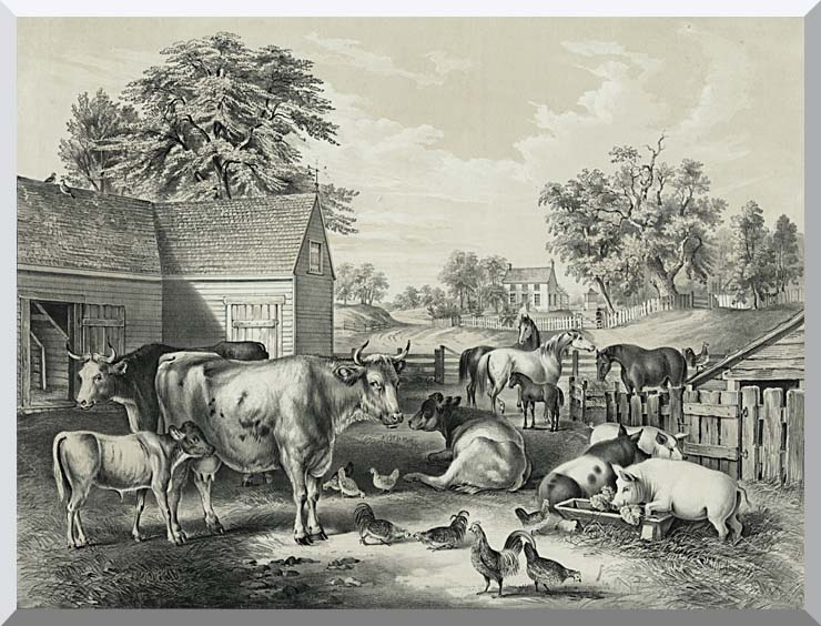 Currier and Ives American Farm Yard - Evening stretched canvas art print