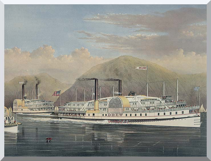 Currier and Ives American Steamboats on the Hudson River stretched canvas art print