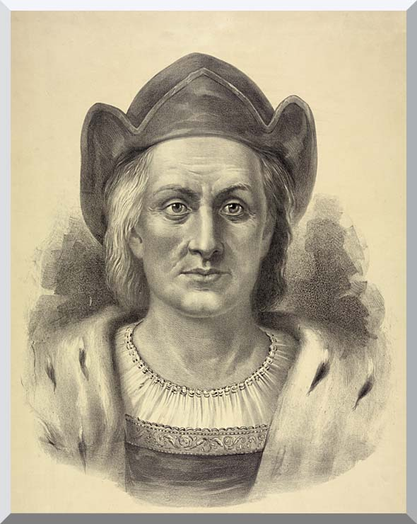 Currier and Ives Christopher Columbus, Discoverer of America stretched canvas art print