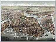 Currier And Ives City Of Boston stretched canvas art