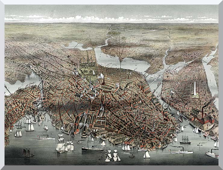 Currier and Ives City of Boston stretched canvas art print