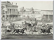 Currier And Ives Going To The Trot   A Good Day And Good Track stretched canvas art