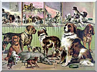 Currier And Ives House Kennel And Field stretched canvas art