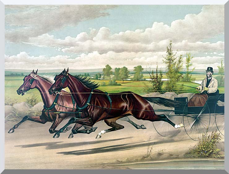 Currier and Ives Mill Boy and Blondine Harness Racers stretched canvas art print