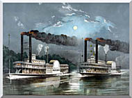 Currier And Ives A Midnight Race On The Mississippi River stretched canvas art