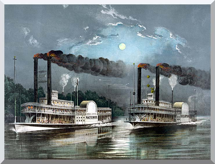 Currier and Ives A Midnight Race on the Mississippi River stretched canvas art print