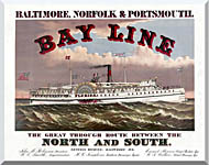 Currier And Ives Bay Line Steamship stretched canvas art