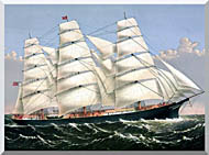 Currier And Ives Clipper Ship Three Brothers stretched canvas art