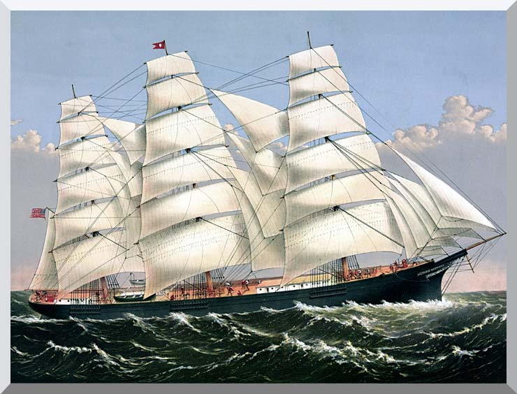 Currier and Ives Clipper Ship Three Brothers stretched canvas art print