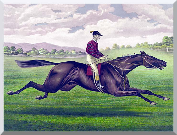 Currier and Ives Parole Horse Racing stretched canvas art print