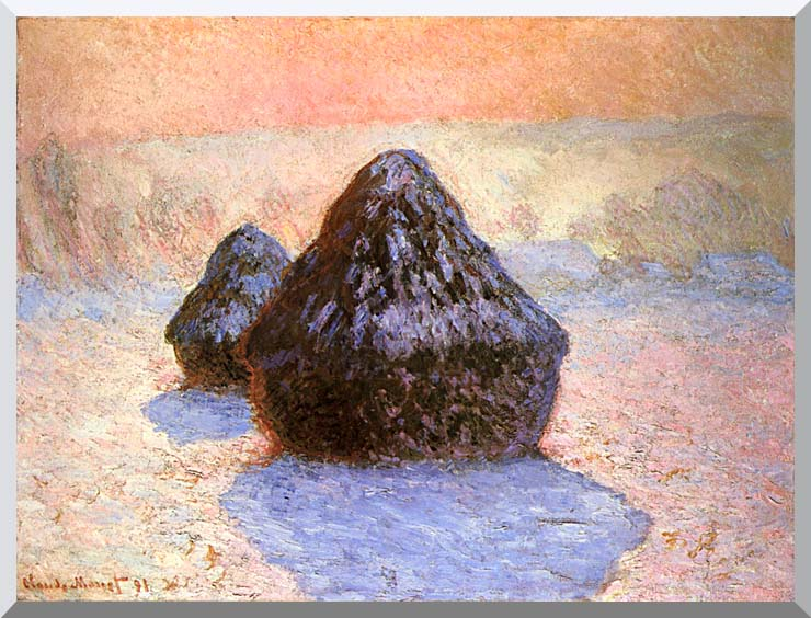 Claude Monet Haystacks, Snow Effect Winter stretched canvas art print