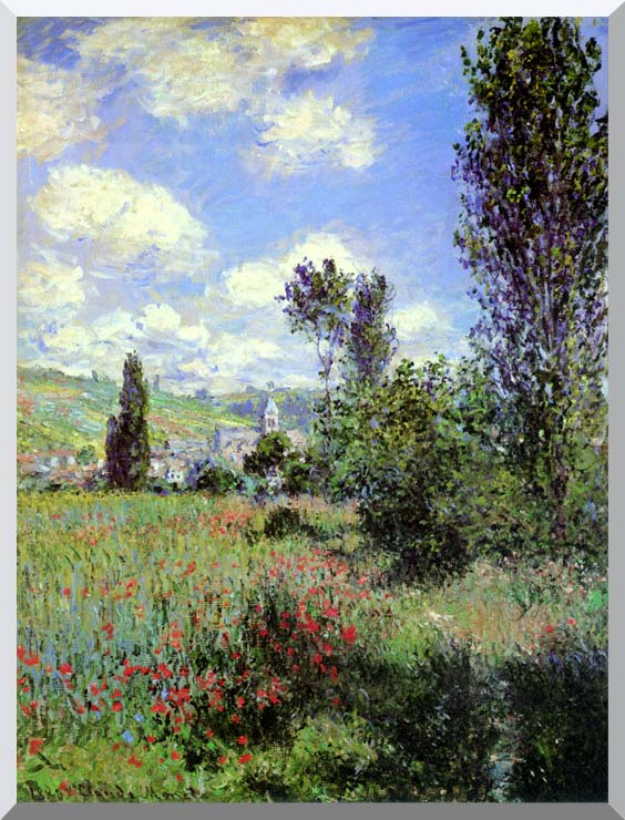 Claude Monet Path in the Ile Saint-Martin, Vetheuil stretched canvas art print
