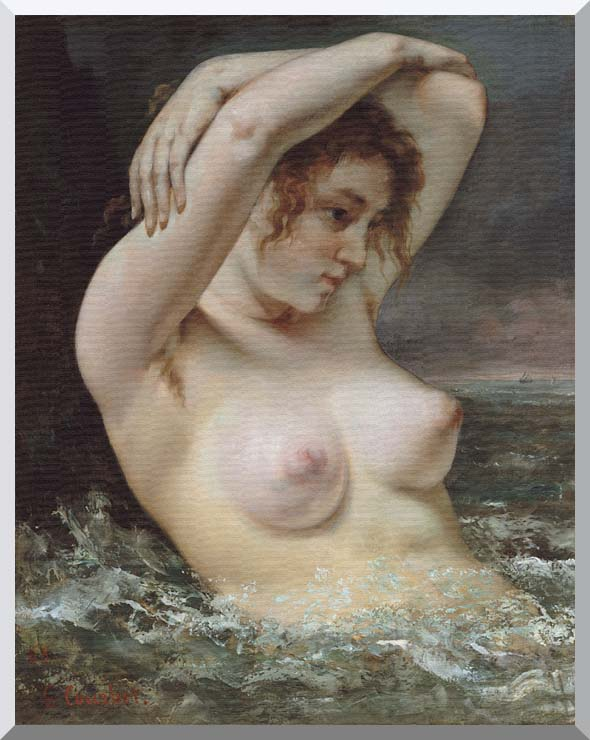Gustave Courbet Woman In The Waves stretched canvas art print
