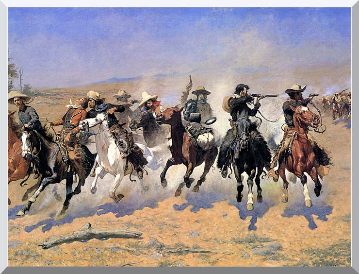 Frederic Remington A Dash For The Timber (detail) stretched canvas art print