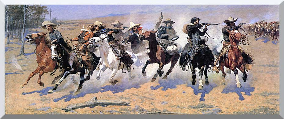Frederic Remington A Dash For The Timber Panoramic stretched canvas art print