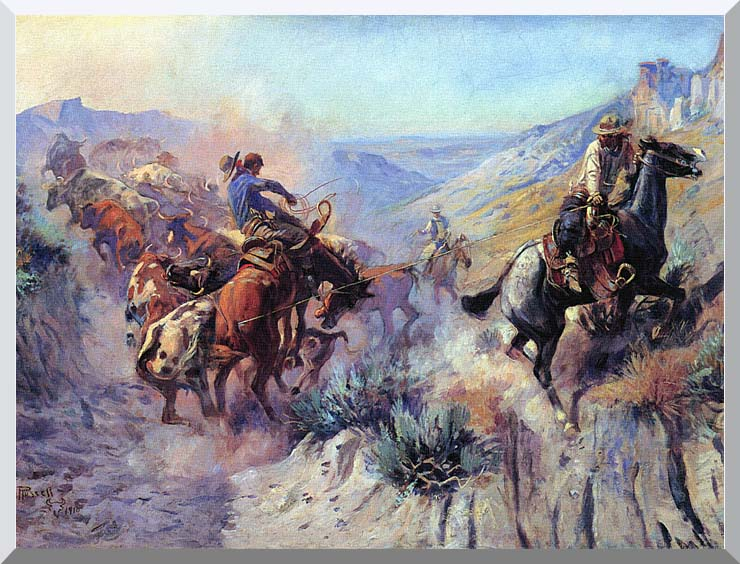 Charles Russell A Mix Up stretched canvas art print