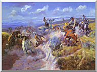 Charles Russell A Tight Dally And Loose Latigo stretched canvas art