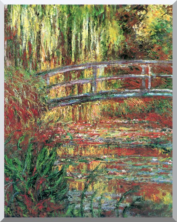 Claude Monet Water Garden and Japanese Footbridge stretched canvas art print
