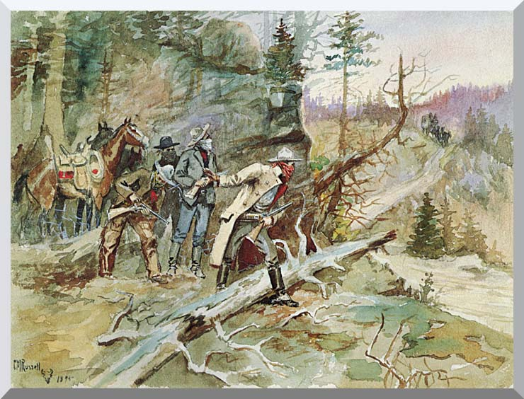 Charles Russell Big Nose George and the Road Agents stretched canvas art print