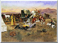 Charles Russell Bronc In Cow Camp stretched canvas art