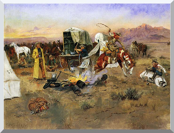 Charles Russell Bronc in Cow Camp stretched canvas art print