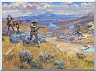 Charles Russell Buffalo Bills Duel With Yellowhand stretched canvas art