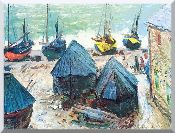 Claude Monet Boats in Winter Quarters stretched canvas art print