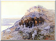 Charles Russell Buffalo Herd At Bay stretched canvas art