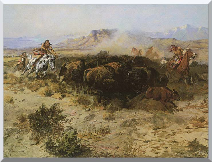 Charles Russell Buffalo Hunt No. 26 stretched canvas art print