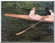 Claude Monet In A Canoe On The Epte River stretched canvas art