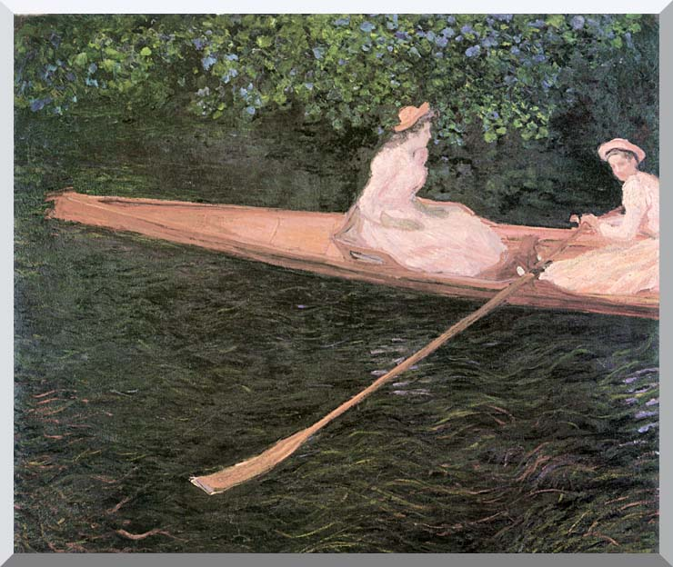 Claude Monet A Canoe on the Epte River stretched canvas art print