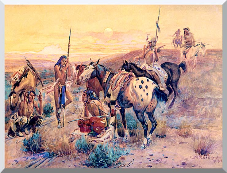 Charles Russell First Wagon Tracks stretched canvas art print