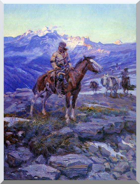 Charles Russell Free Trappers stretched canvas art print