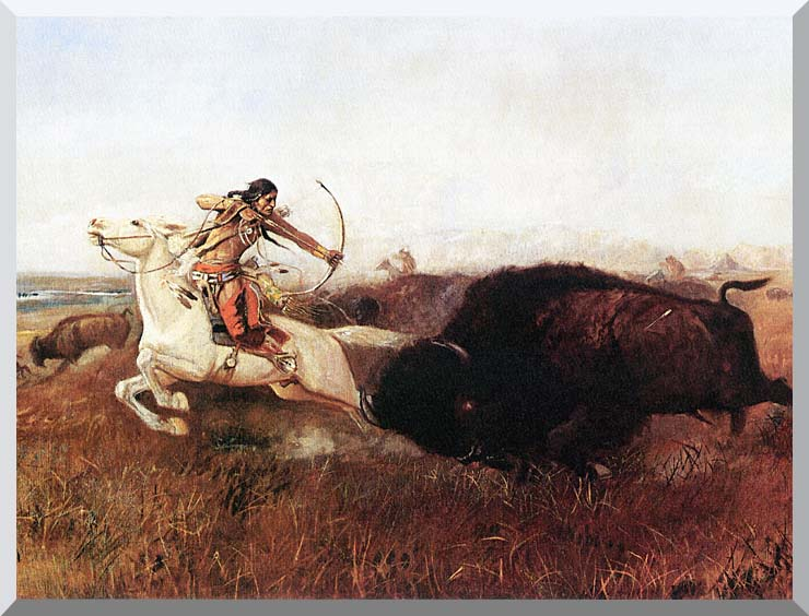 Charles Russell Indians Hunting Buffalo stretched canvas art print