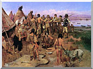 Charles Russell Lewis And Clark Expedition Meeting With Indians stretched canvas art