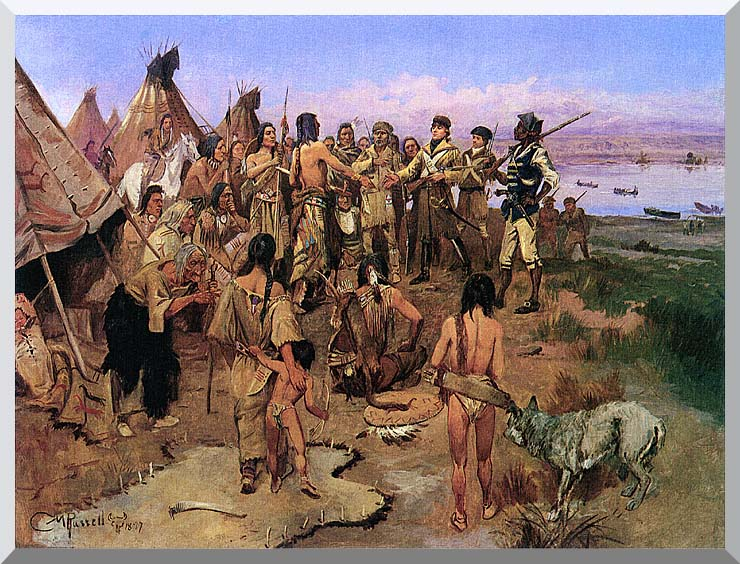 Charles Russell Lewis and Clark Expedition Meeting with Indians stretched canvas art print