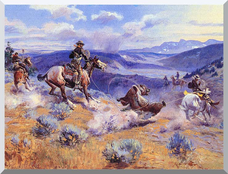 Charles Russell Loops and Swift Horses are Surer than Lead stretched canvas art print