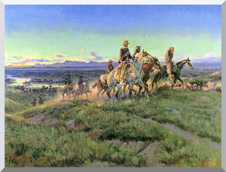Charles Russell Men of the Open Range stretched canvas art print