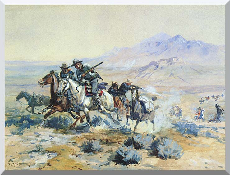 Charles Russell On the Attack stretched canvas art print