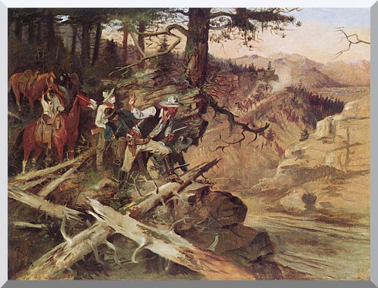 Charles Russell The Ambush stretched canvas art print