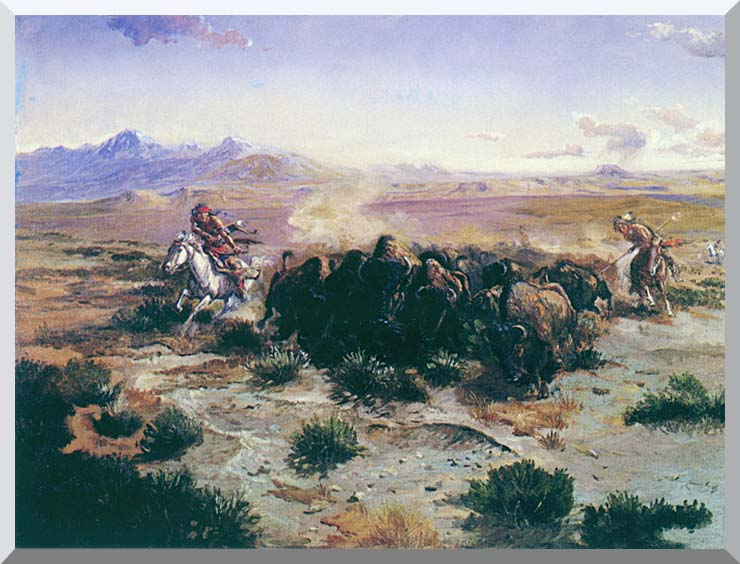 Charles Russell The Buffalo Hunt stretched canvas art print