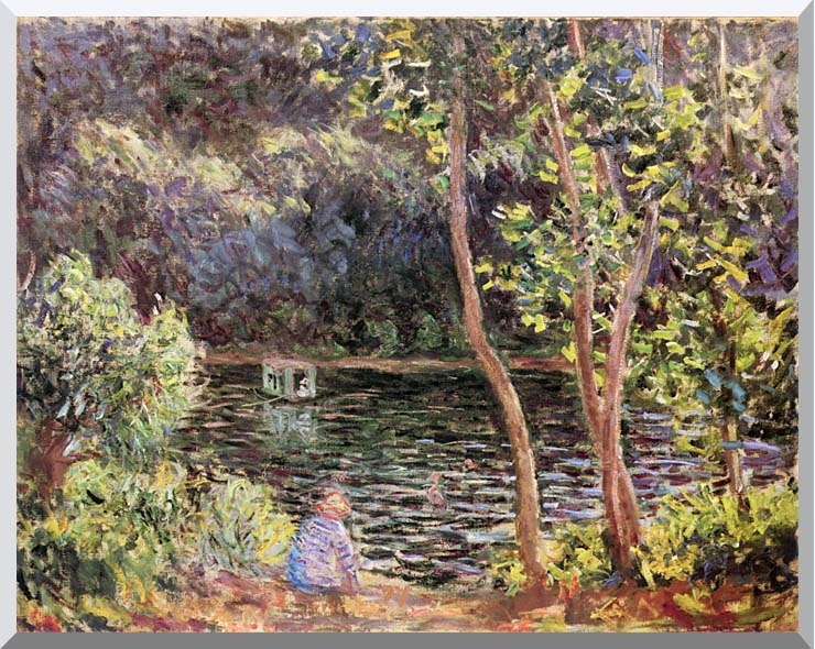 Claude Monet Studio Boat on the Seine River stretched canvas art print