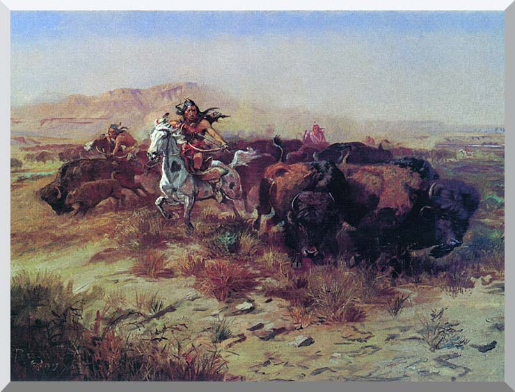 Charles Russell The Buffalo Hunt (Wild Meat for Wild Men) stretched canvas art print
