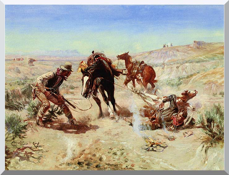 Charles Russell The Cinch Ring stretched canvas art print