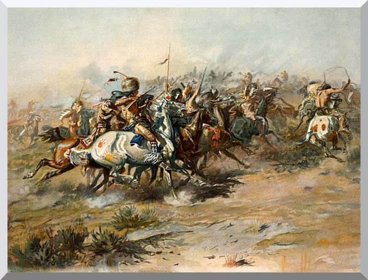 Charles Russell The Custer Fight stretched canvas art print