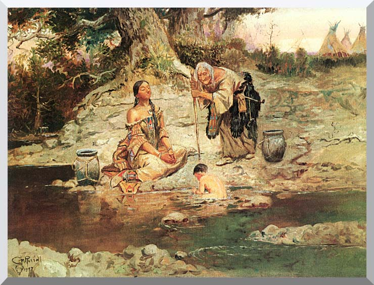 Charles Russell Three Generations stretched canvas art print