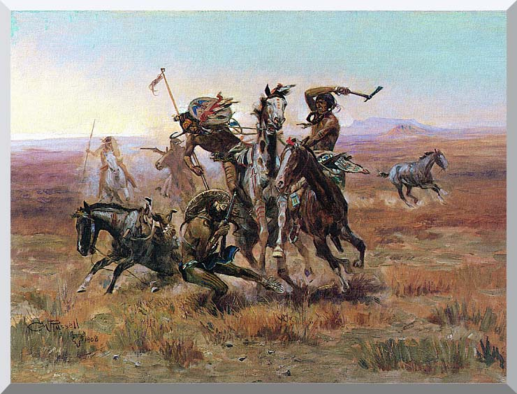 Charles Russell When Blackfeet and Sioux Meet stretched canvas art print