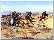 Charles Russell When Cowboys Get In Trouble stretched canvas art